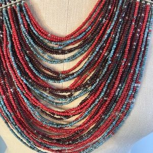 Jewelry - Coral, tourquoise, brown colored beaded necklace